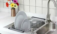 Over The Sink Dish Drainer Rack Kitchen Accessories Drying Chrome Storage Holder