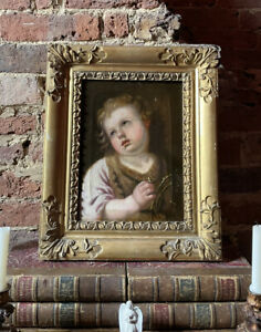 Antique 19th Century Oil Portrait Painting Of The Christ Child Jesus Lely Frame