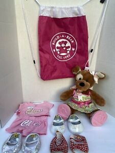 """Build A Bear Workshop Brown Sugar Puppy Plush Dog 14"""" With Girl Clothes & Shoes"""
