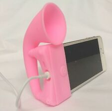 PINK Portable Silicone Horn Amplifier Loud Speaker Desk Stand Apple iPhone 5 5S