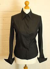 GUCCI Ladies Black 100% SILK Cuff Sleeved SHIRT - Size IT 38 - UK 6