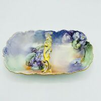 Tk Thun Antique Austrian Hand Painted Fruit Dish Basket Bowl with Handle Floral