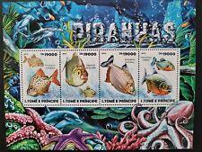 Sao Tome & Principe 2015 / Fishes - Piranhas / 4v minisheet