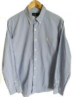 Mens Ralph Lauren polo Long Sleeve Blue Pinstripe Yellow Pony Classic Fit Size L