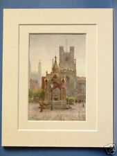 THE MARKET PLACE CAMBRIDGE VINTAGE DOUBLE MOUNTED HASLEHUST PRINT c1930 10X8
