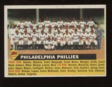 1956 Topps Baseball Team Card Name on Left #72 Philadelphia Phillies NRMT