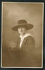 Dated 1918 Photo Card: Paule: Wearing Hat, Jacket & Pendant