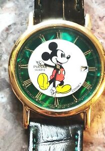Pulsar Mickey Mouse Watch V532 9A78 Unisex Green Pearl Pearl Dial Date Disney