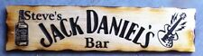 Personalised Jack Daniel's Guitar Bar Rustic Pine Timber Sign 600mm x 140mm