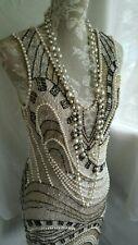 Vtg 1920,s style Downton Peaky ivory pearl beaded wedding dress size 10/12 uk