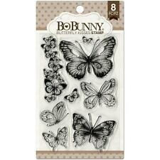 New BO BUNNY RUBBER STAMP clear cling set BUTTERFLY KISSES free usa ship