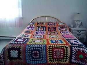 HAND MADE CROCHETED GRANNY SQUARES FLORAL AFGHAN BLANKET-82X86-BRIGHT&WARM