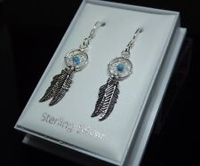 Sterling Silver 925 & Turquoise Dreamcatcher Drop Dangle Earrings Gift Boxed