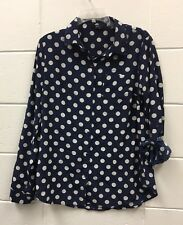 Forever 21 Shirt Sz L button front roll tab sleeves navy blue white polka dots