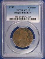 1787 Connecticut Copper. Draped Bust Left PCGS VG10. ET1536A/JLH
