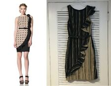 Anthropologie Eva Franco Black Beige Stripe Goya Ruffle Dress Sheath w/Belt XS 2