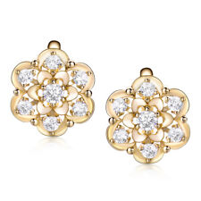 Retro 18K Yellow Gold Filled Flower Diamond Sapphire Lady Party Banquet Earrings