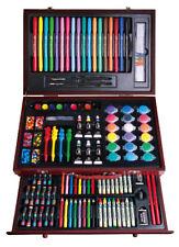 123pcs Art woolden Box Set,inc.Pencils/paints/markers great gift for kids(A0086a