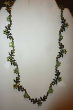 Vintage Small Green Floral Crystal and Enamel Necklace and Earrings