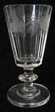 "Wine Glass c.1820 Sliced Bucket Bowl Blade Knop Stem Grape Vine Hand Etched 4"" T"