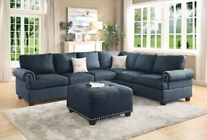 Modern Living Room Dark Blue Bonded Leather Sectional Sofa Loveseat Couch Set