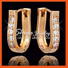 18K ROSE GOLD GF E149 OVAL HOOP HUGGIES SIMULATED DIAMONDS LADIES SOLID EARRINGS