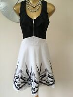 💕KAREN MILLEN - 12 UK - GORGEOUS BLACK & WHITE FIT & FLARE DRESS EXCELLENT COND