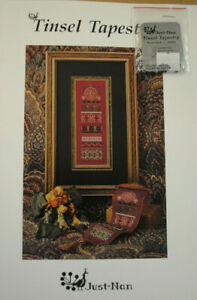 """TINSEL TAPESTRY"" Cross Stitch Pattern & Embellishments ~ Just Nan ~1995 NEW"