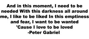 LOVE TO BE LOVED Lyrics VINYL DECAL  Peter Gabriel bumper sticker car