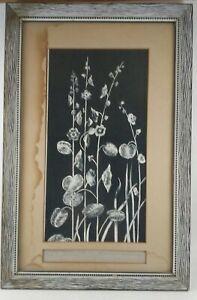 Original Floral Vintage Painting White on Black- Title/Date/Signed Polish Artist
