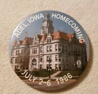 Vintage Pinback Button Adel, Iowa Homecoming 1986 Collectible