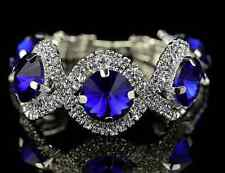 Silver Crystal Diamante Sapphire Bracelet with Large Blue Rhinestones