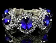 Silver Crystal Diamante Sapphire Bracelet with Large Blue Rhinestones