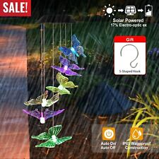 Led Solar Powered Butterfly Wind Chimes Light Home Garden Hanging Lamp Decor New