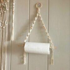 Paper Towel Holder Wall Mount Hanging Vintage Wooden Storage Rack Stick Decor