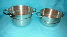 2 Steam pots Stainless Steel Kitchen cookware 1 with Larger Holes than the other