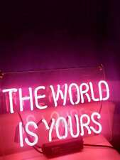 """New The World Is Yours Pink Neon Light Sign Lamp Beer Pub Acrylic 17"""""""