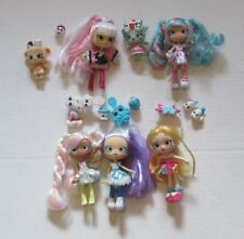 Lot of 5 Shopkins Shoppie Dolls with Accessories and Pets