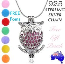 OWL Essential Oil Diffuser Locket Pendant 925 Sterling Silver Chain Necklace NEW