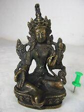 Pequeñas verdes Tara Buda micro estatua de bronce acabado sofisticado a mano el Tíbet ~ 1970