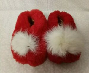 Vintage 1950's Red Toddler Fuzzy Slippers