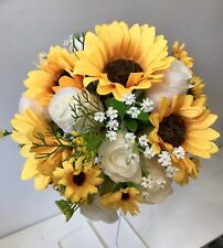 Artificial Wedding Bouquet, Bridesmaid, Rose, Sunflowers, Gypsophila Flowers