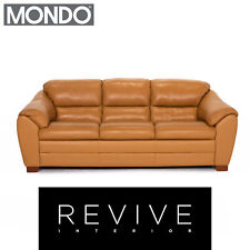 Mondo Leather Sofa Yellow Mustard-Yellow Two Seater Couch #13789