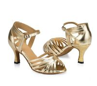 womens ballroom Latin dance shoes gold silver low heel dance salsa shoes