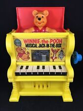Vintage 1973 Disney Toy Jack In The Box Winnie The Pooh Musical Piano USA Plasti