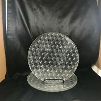 "Set of 3 Fortecrisa Basketweave Clear Glass 9-1/2"" Dinner Plates"