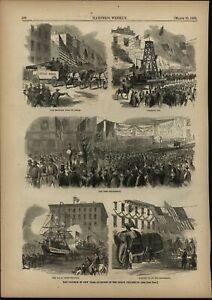 Triumph Parade New York city Elephant 1865 antique Civil War wood engraved print