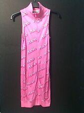 SS15 Moschino Couture X Jeremy Scott Barbie Pink Logo Print Track Jacket Dress
