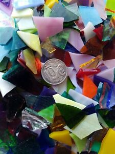 Leadlight glass offcuts for mosaic or glass crafts-Assorted mix 1kg