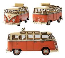 1966 vintage tin plate Kombi Camper Van desk tidy in orange with white roof
